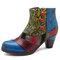 SOCOFY Bohemian Splicing Pattern Button Zipper Ankle Leather Boots - Blue