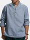 Mens cor sólida vintage estilo chinês gola solta casual Botões camisetas