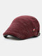 Men Woolen Autumn And Winter Knitting Contrast Color Warm Forward Hat Flat Hat - Red