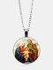 Vintage Virgin Mary And Child Necklace Alloy Glass Printed Pendant Women Necklace - #04