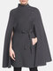Solid Color Pocket Button Waistband Cloak Casual Coat for Women - Gray