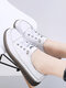 Women Casual Soft Color Splicing Elastic Band Flat Shoes - White