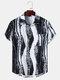 Mens Irregular Ink Striped Print Button Up Short Sleeve Shirts - White
