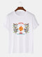 Mens Oriental Dragon Printed Cotton National Style Short Sleeve T-Shirts - White