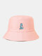 Unisex Cotton Solid Color Cartoon Little Dinosaur Embroidery All-match Sun Protection Bucket Hat - Pink