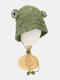Women Straw Woven Solid Color Frog Shape Cute Fashion Sunscreen Straw Hat - #02