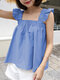Solid Square Collar Ruffle Short Sleeve Women Blouse - Blue