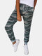 Camouflage Printed Casual Drawstring Elastic Waist Pants For Women - Green