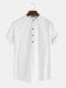 Men Cotton Linen Retro Solid Casual Henley Shirt - White