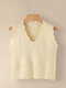 Solid Color V-neck Sleeveless Knit Sweater For Women - White