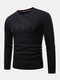 Mens Chevron Knitted Solid Color Crew Neck Slim Fit Casual Sweater - Black