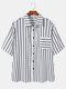 Plus Size Mens Stripe Button Up 100% Cotton Casual Short Sleeve Shirts - Navy