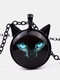 Vintage Printed Black Cat Women Necklace Cat Ear Glass Pendant Sweater Chain - Black