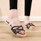 Women Cross Strap Braided Detail Comfy Lightweight Casual Slippers - Black