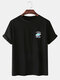 Mens Planet Letter Embroidery Cotton Round Neck Casual Short Sleeve T-Shirts - Black