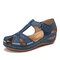 LOSTISY Plus Size Embroidered Hollow Out Flower Hollow Out Summer Fisherman Sandals - Blue
