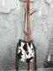 Tassel Decor Faux Fur Sun Flower Exquisite Print Pattern Lattice Bucket Bag Shoulder Bag - 6