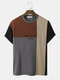 Mens Knit Color Block Patchwork Letter Pattern Loose Short Sleeve T-Shirts - Gray