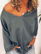 Casual Solid Color Long Sleeve V-neck Plus Size T-shirt - Grey