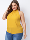Solid Color Bowknot Halter Sleeveless Plus Size Tank Top for Women - Yellow