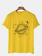 Mens Planet Pattern Print Solid Casual Loose Light O-Neck T-Shirts - Yellow