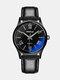 حزام زجاجي أزرق سبيكة Watch أزياء مضيئة ضد للماء كوارتز Watch - أسود