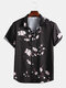 Mens Plum Blossom Print Button Up Chinese Style Short Sleeve Shirts - Black
