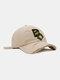 ユニセックスコットンブロークンホールレター漫画スマイルフェイス刺繡布ラベルオールマッチ日焼け止め野球帽 - ベージュ