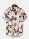 Mens Vintage Line Drawing Flower Print Street Short Sleeve Shirts - Pink