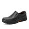 Men Cow Leather Non Slip Wearable Casual Slip On Shoes - Black