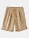 Pantalones cortos casuales con cordón de color sólido para hombres - Caqui