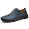 Menico Hommes Coutures À La Main Antidérapantes Soft Semelle Casual Chaussures En Cuir - bleu