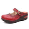 SOCOFY Handmade Leather Cutouts Buckle Strap Stitching Slip-on Mules Non-slip Flat Sandals - Red