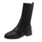 Women Breathable Knitted Leather Splicing Comfy Non Slip Fashion Motorcycle Short Sock Boots - Black