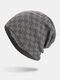 男性冬Plusベルベットコントラストチェック柄パターン屋外ニット暖かいビーニー帽子 - グレー