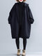 Solid Color Long Sleeve Hooded Casual Coat For Women - Navy Blue