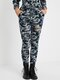 Camo Print Hollow Ripped Drawstring Casual Pants With Pocket For Women - Blue