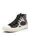 Women Graffiti Lace-up High-tops Chic Canvas Shoes - Black