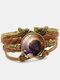 Vintage Galaxy Starry Sky Pattern Butterfly Geometric Shape Hand-braided Glass PU Alloy Multi-layer Bracelet - #01