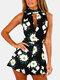 Barboteuse courte décontractée à imprimé floral à col en V sans manches pour femme - Noir