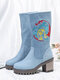Women Casual Solid Color Paisley Pattern Chunky Heel Mid-Calf Boots - Light Blue