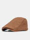 Men Cotton Solid Color Cloth Tape Decoration Sunshade Casual Berets Flat Caps - Coffee