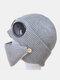 Men & Women Plus Velvet Thick Warm Neck Face Ear Protection Headgear Knitted Hat Mask Pilot Glasses - Gray