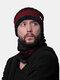Uomo 2PCS Plus Velluto spesso inverno all'aperto Tenere in caldo Collo Protezione Copricapo Sciarpa Cappello lavorato a maglia Berretto - Vino rosso