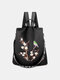 Women Multi-carry Embroidered Anti-theft Waterproof Travel Backpack Crossbody Bag - Black