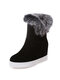 Women Large Size Round Toe Solid Color Casual Plush Warm Snow Cotton Boots - Black