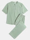 Cotton Linen Breathable Stand Collar Mid Sleeve & Pants Loungewear Sets With Chest Pocket - Light Green
