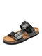 Men Brief Opened Toe Metal Light Weight Casual Two Ways Sandals - Black