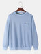 Mens Butterfly Embroidery Cotton Drop Shoulder Chest Pocket Loose Pullover Sweatshirts - Blue