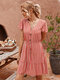 Striped  Print Ruffled Sleeves V-neck Button Casual Dress For Women - Pink